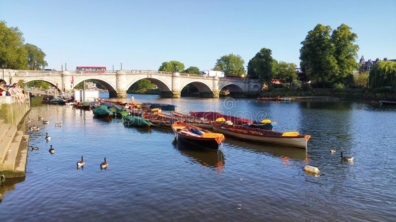 Boats by Richmond Bridge stock images