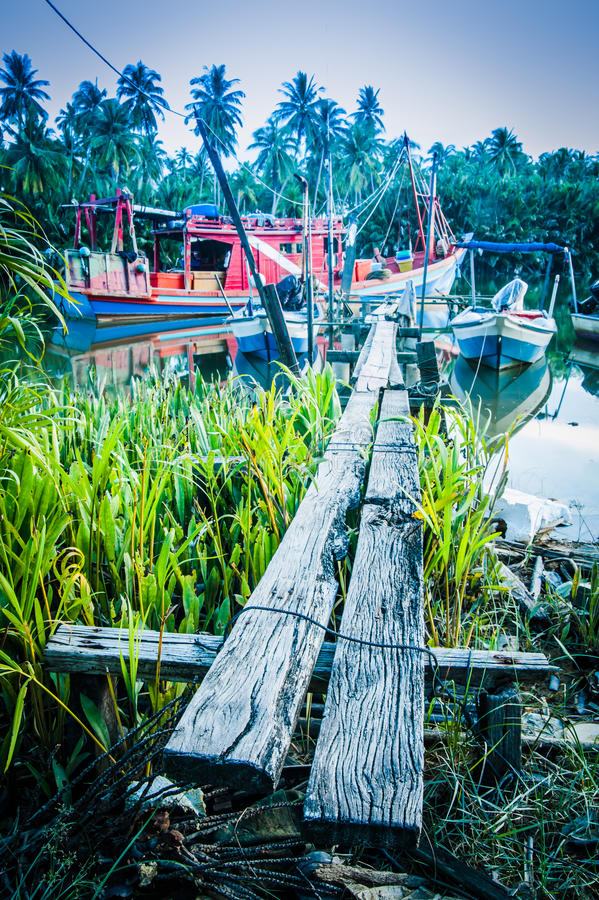 Download Boats by river bank stock photo. Image of water, plank - 27312416