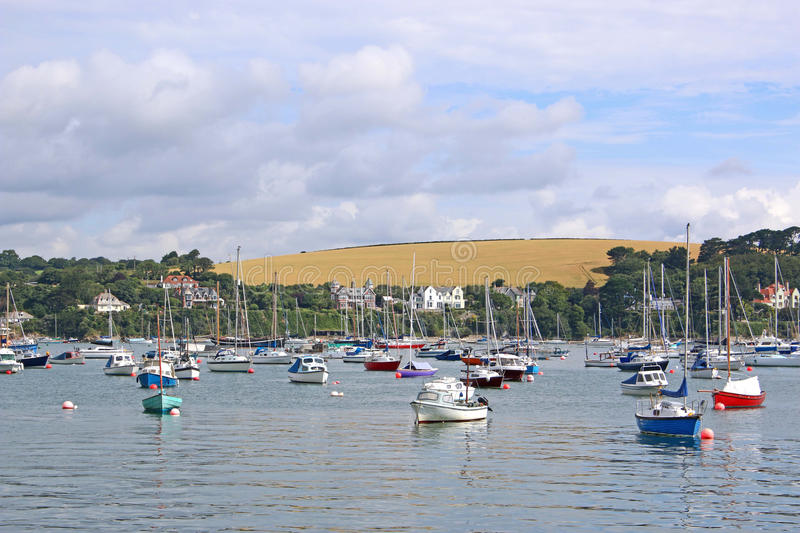Boats on the River Fal. Boats moored on the River Fal, Falmouth royalty free stock photos