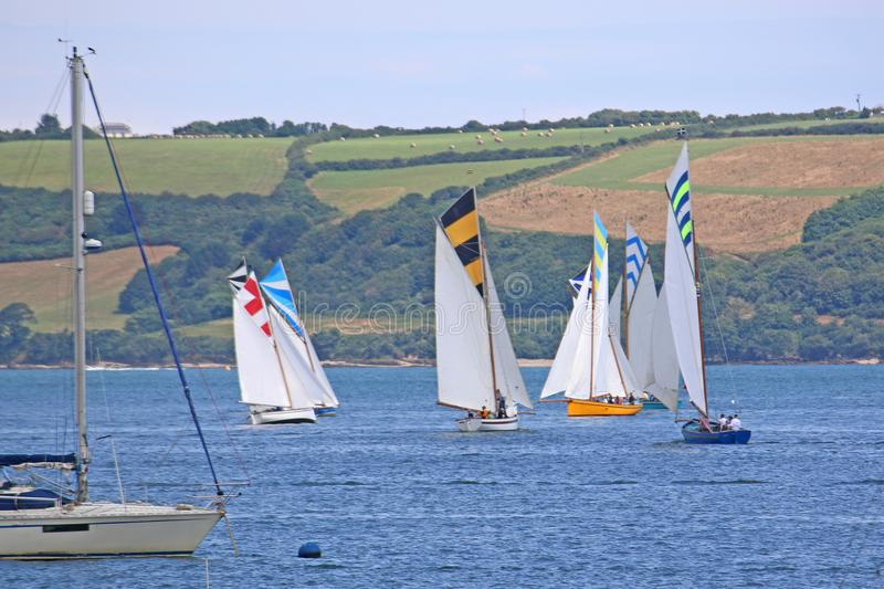 Boats on the River Fal. Oyster cutters sailing on the River Fal, Cornwall royalty free stock image