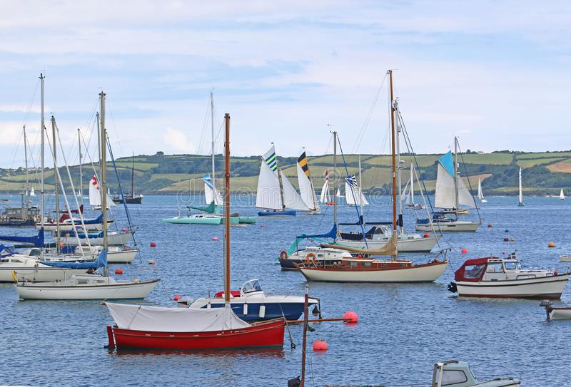 Boats on the River Fal. Oyster cutters sailing on the River Fal, Falmouth stock image
