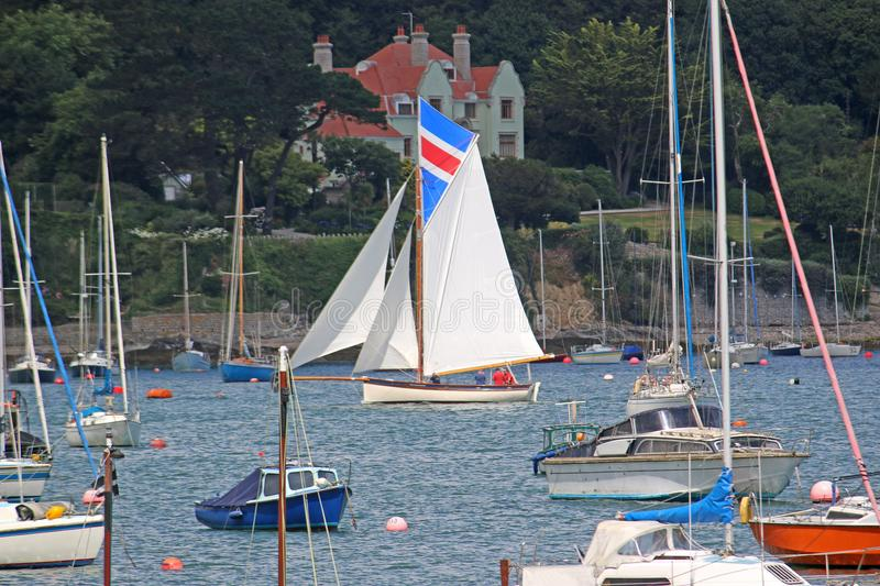 Boats on the River Fal. Sailing boat on the River Fal, Falmouth, Cornwall royalty free stock photos