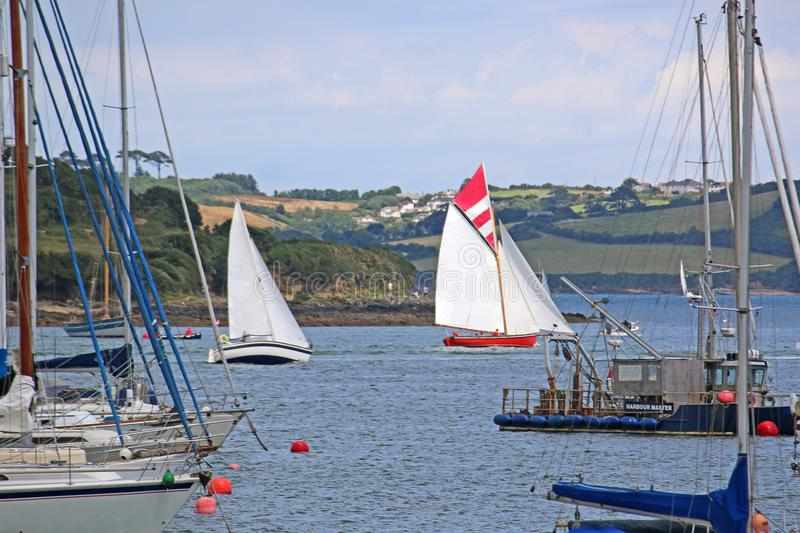 Boats on the River Fal. Traditional boats sailing on the River Fal stock photos