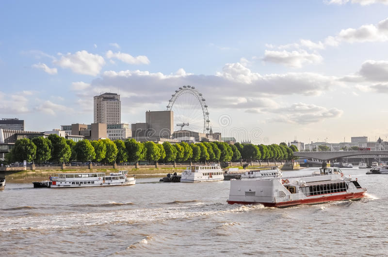Boats on River Thames in London. United Kingdom stock images
