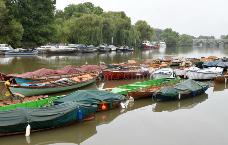 Boats on the river Thames at Richmond London royalty free stock image