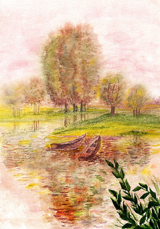 Boats on the river. Watercolor. royalty free illustration
