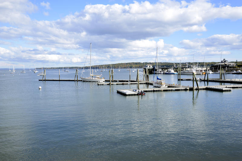 Boats on Rockland Harbor in Maine royalty free stock image