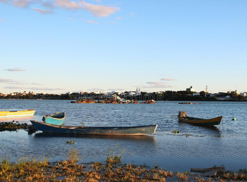 Boats on the São Francisco river in Petrolina city royalty free stock images