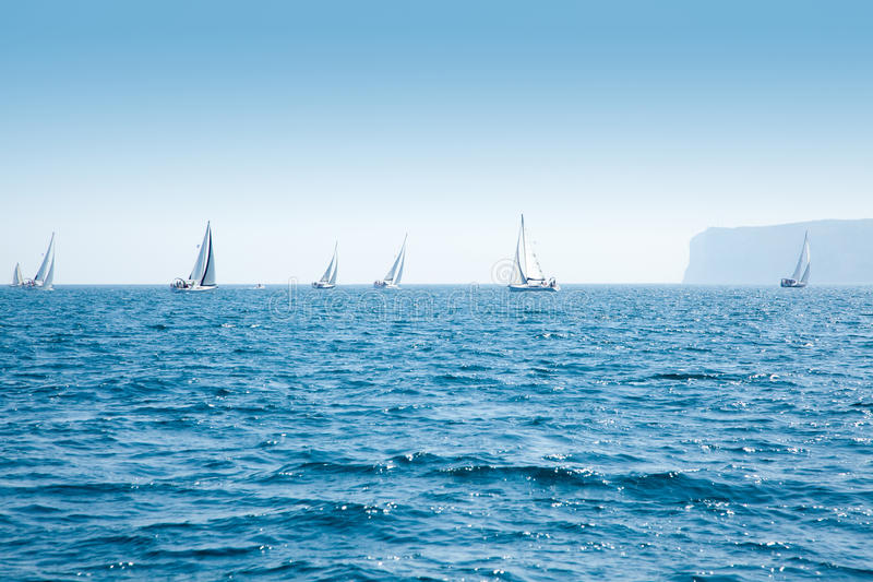 Boats Sail Regatta With Sailboats In Mediterranean Royalty Free Stock Photos