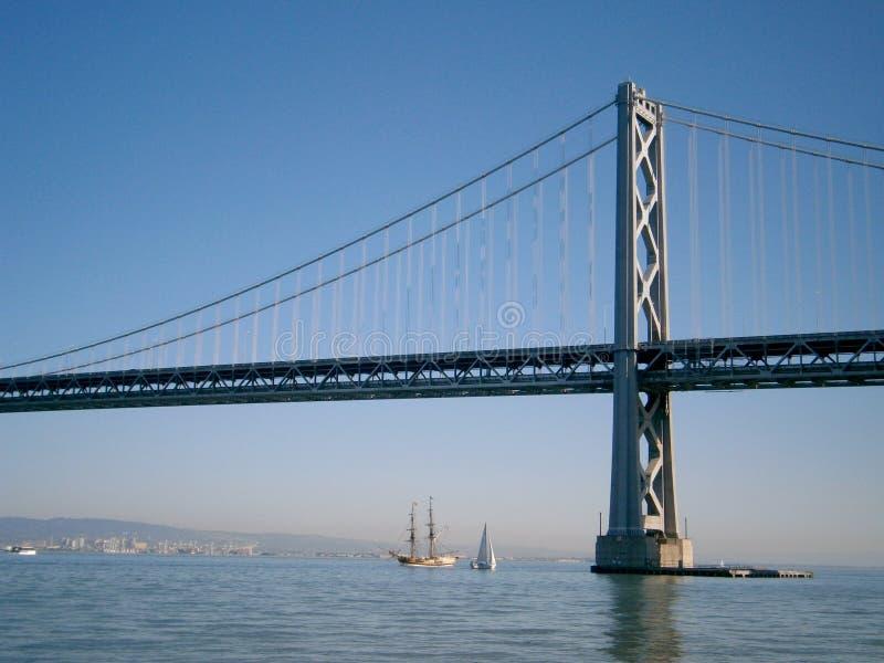 Boats sail under the San Francisco side of Bay Bridge royalty free stock photography
