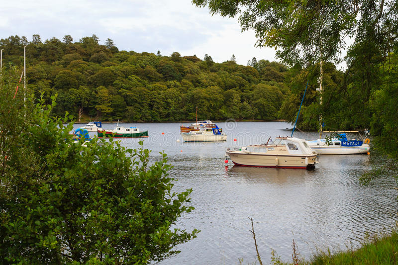 Boats in scottish loch. Panorama from Scotland stock photography