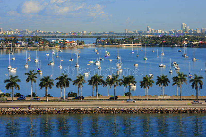 Boats on the sea. Miami day,Florida , USA.