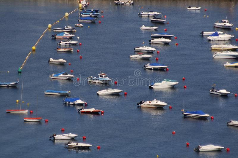 Boats in the sea. Some small boats in the port in north of Spain stock photography