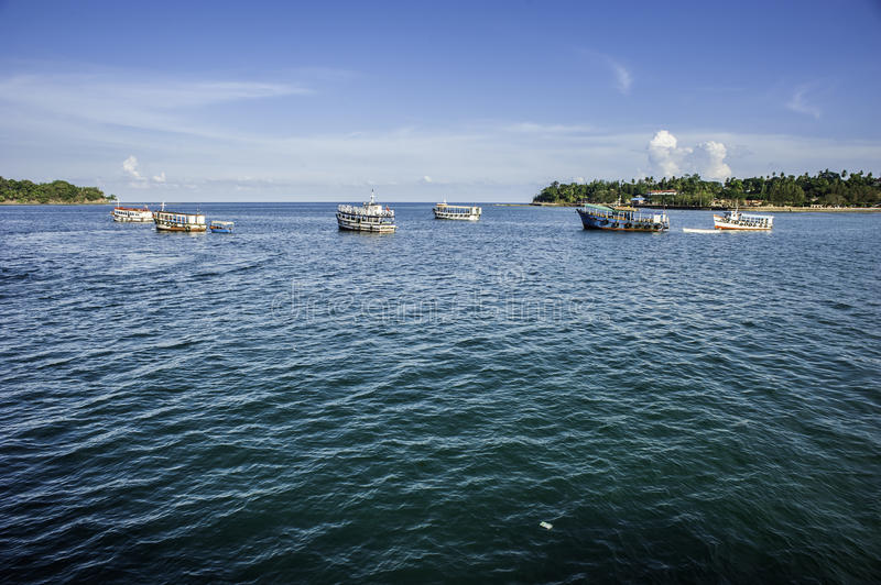 Boats on the sea. Boats are waiting for their passengers near Port Blair harbor in Bengal Bay, India royalty free stock photo