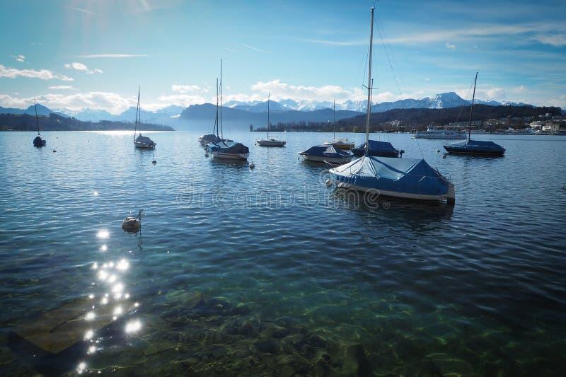 Boats See lucern stockfoto