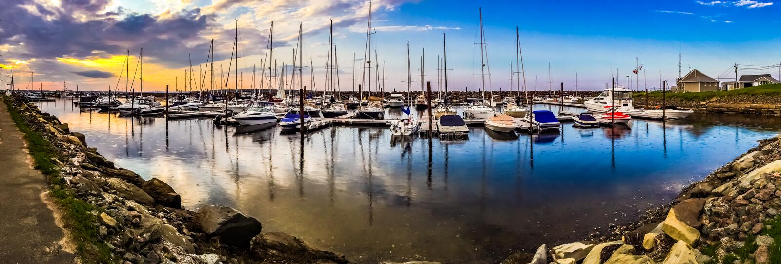 Boats in Shediac Bay, New Brunswick, Canada. During the first days of summer stock images