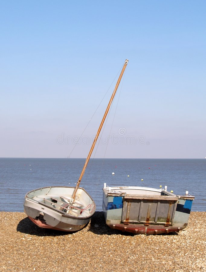 Boats on a Shingle Beach in England