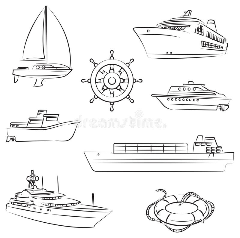Boats and ships stock illustration