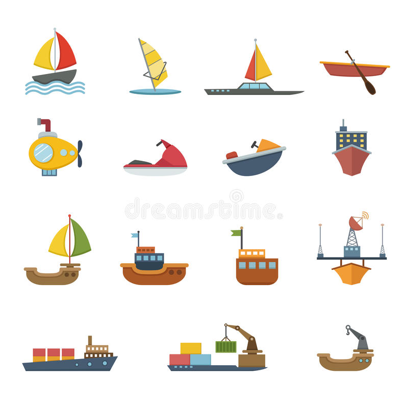 Boats and ships icons set. Illustration of boats and ships icons set vector illustration