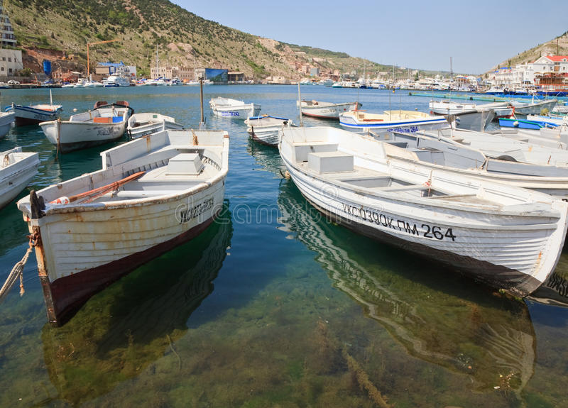 Boats and ships at pier (Balaclava, Crimea) royalty free stock photos