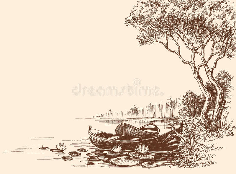 Boats on shore royalty free illustration