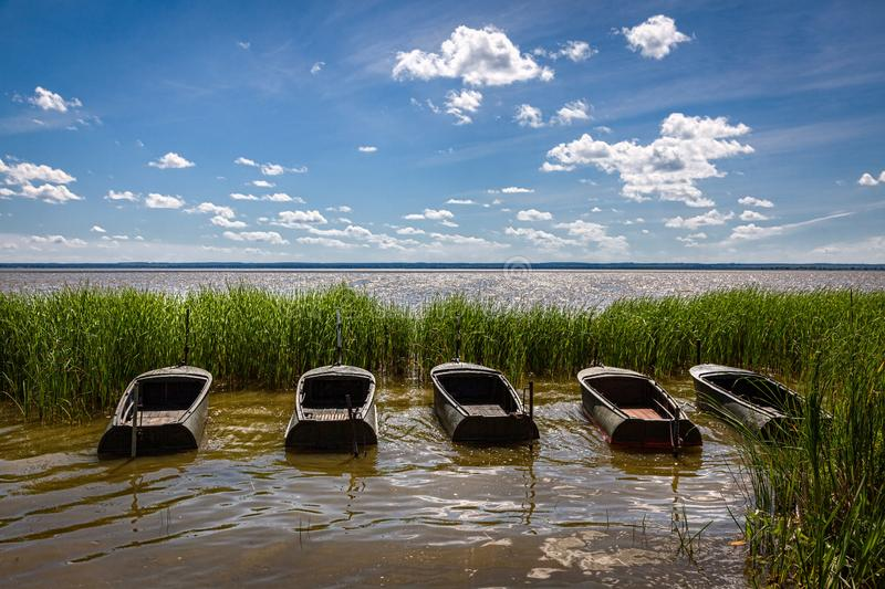 Boats on the shore. Lakes and rivers of Russia royalty free stock images