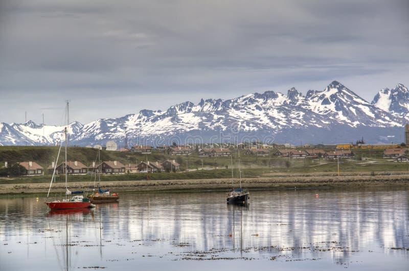 Boats At The Shore Of Ushuaia, Argentina Stock Photos
