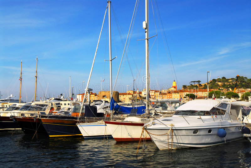 Boats at St.Tropez. Luxury boats at the dock in St. Tropez in French Riviera stock image