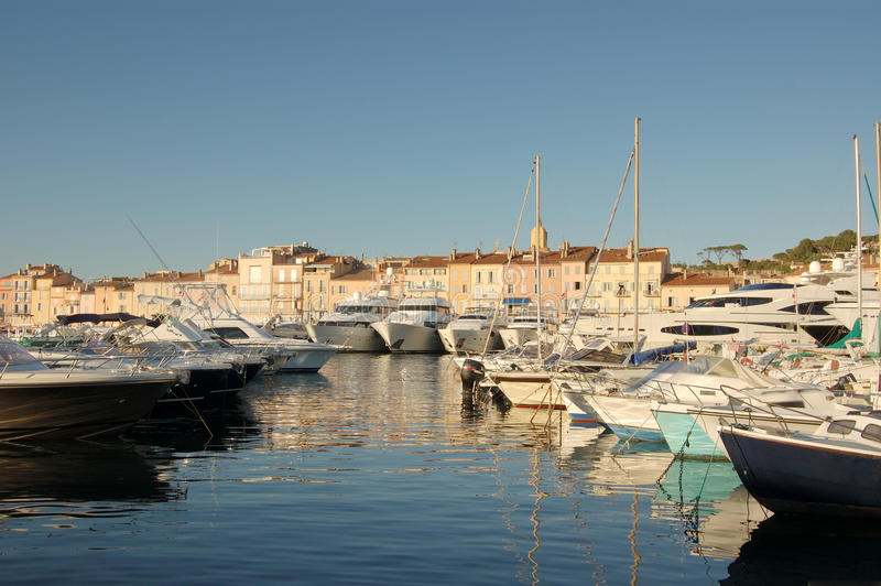 Boats in St Tropez harbour. Boats in St Tropez, France in evening light stock photos