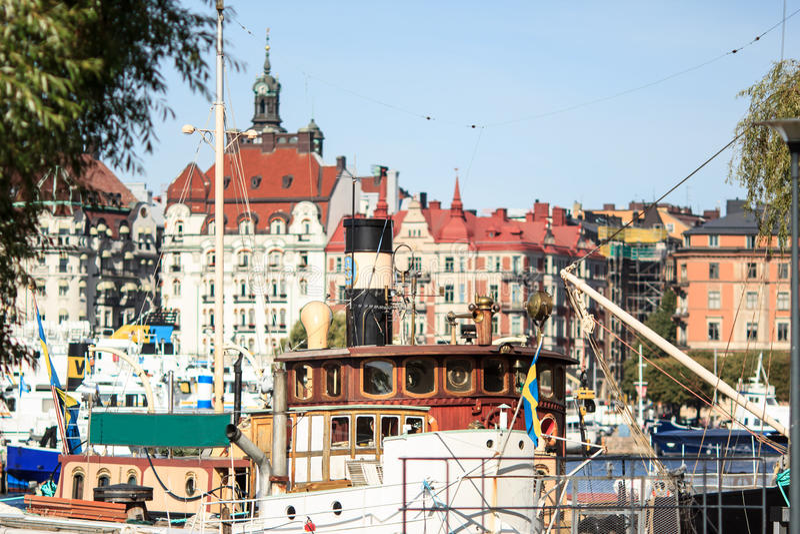 Boats of Stockholm, Sweden stock image