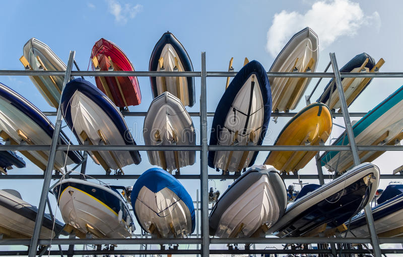 Boat Storage Rack. Rows of sailboats in a boat storage rack in a marina. Portsmouth, Hampshire, England royalty free stock photo