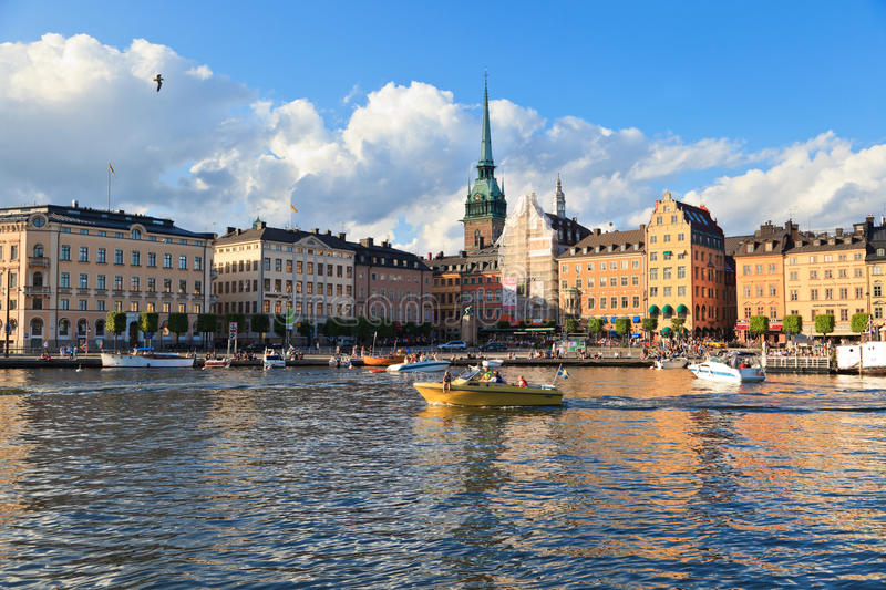 Boats in summer Stockholm stock photos