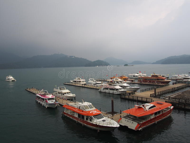 Boats on the Sunmoonlake stock images
