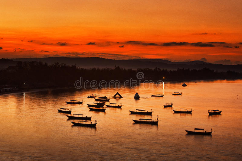 Download Boats at sunrise stock photo. Image of asian, tropical - 27878798