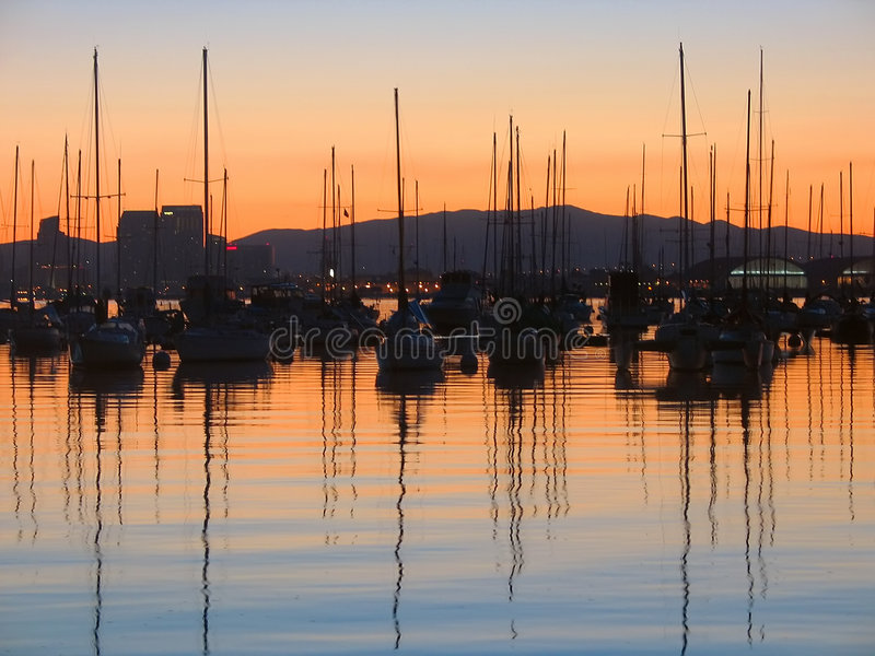Download Boats in sunrise stock image. Image of wind, shore, mast - 467931