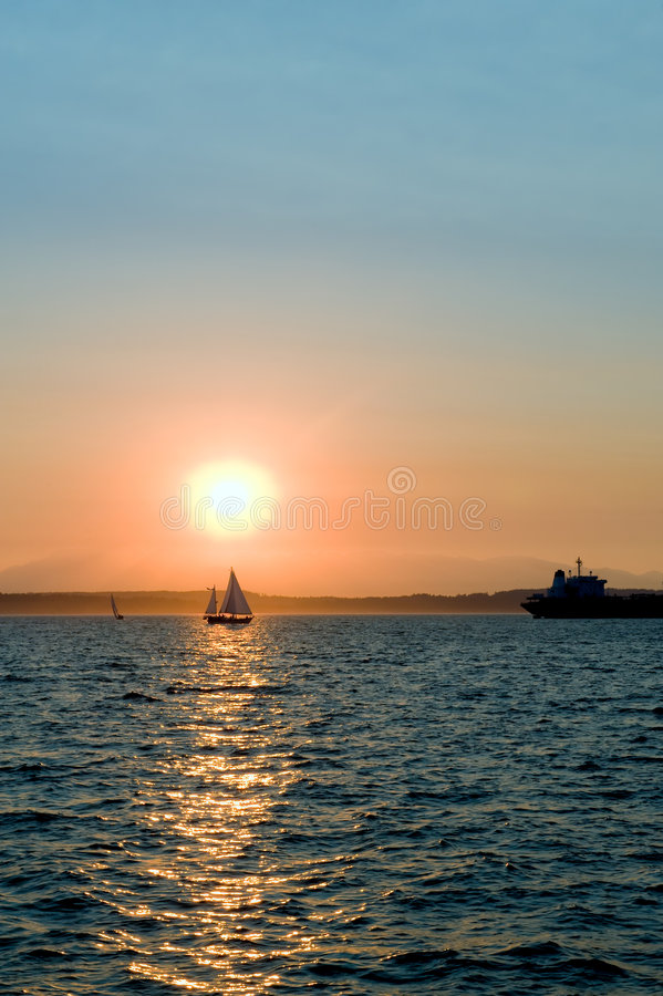 Download Boats At Sunset Stock Image - Image: 6129751