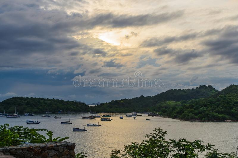 Boats at sunset in the Bay of Southeast Asia. Flores. Indonesia royalty free stock photography