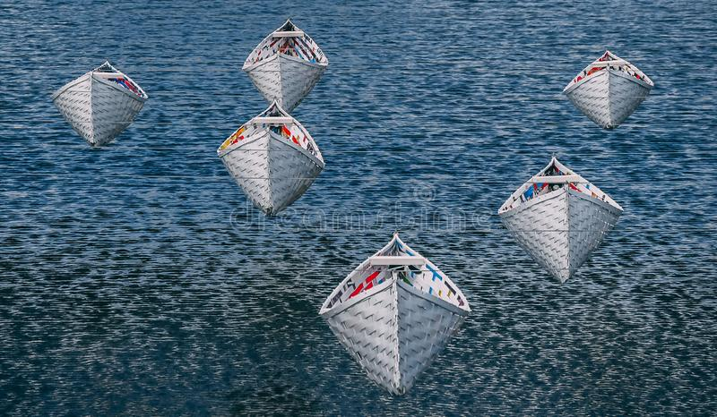Boats suspended above water stock photography