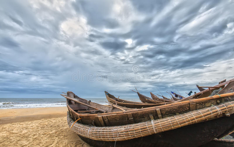 Boats to avoid storm stock photography