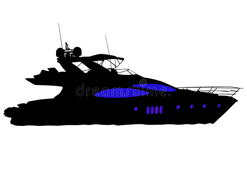 Boats on the water. Vector drawing of a large sea boats. Silhouette on white background vector illustration