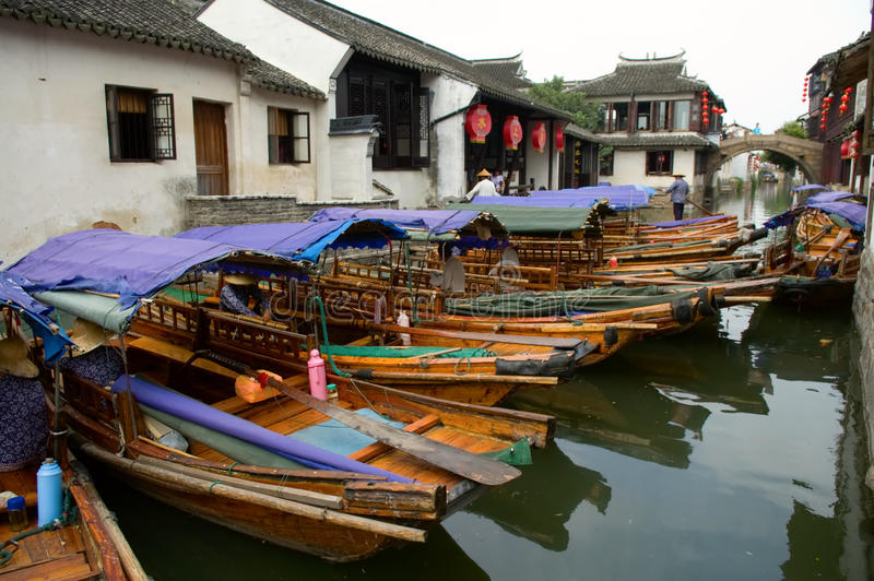 Download Boats In Water Town In China Stock Image - Image: 10825901