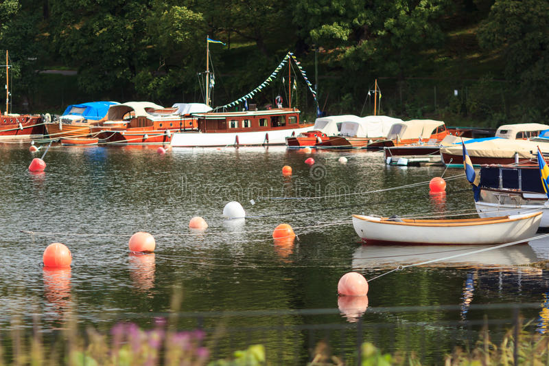 Boats on waterfront royalty free stock photo