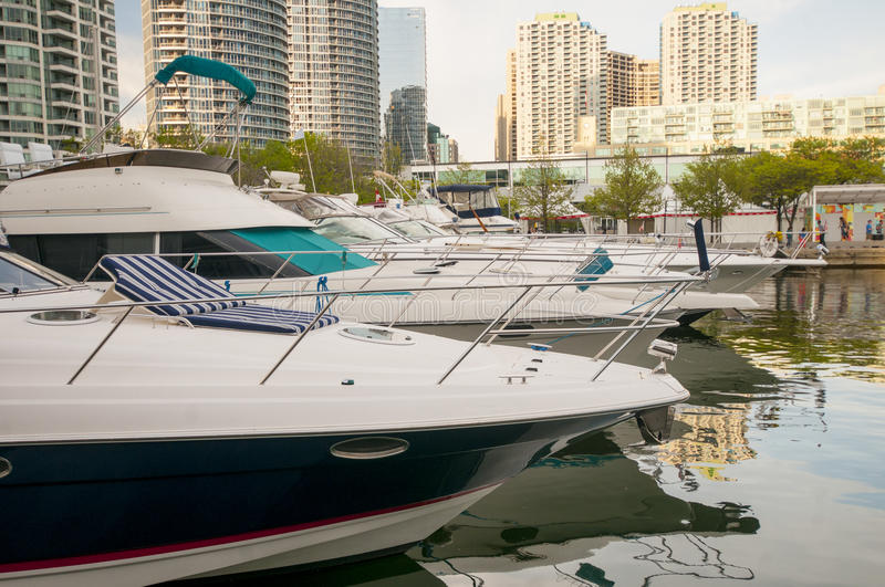 Boats in Waterfront Toronto. Boats on the waterfront marina in downtown Toronto stock photos