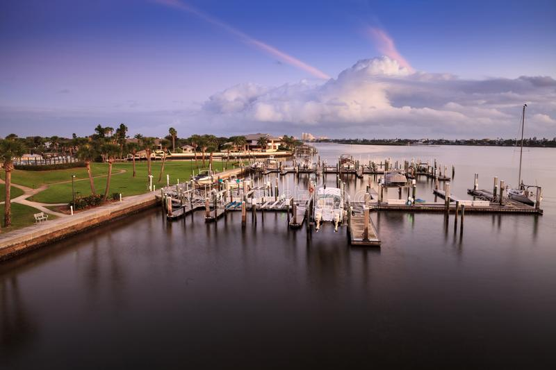 Boats and waterfront view at dawn over the Indian River. In New Smyrna Beach, Florida royalty free stock images