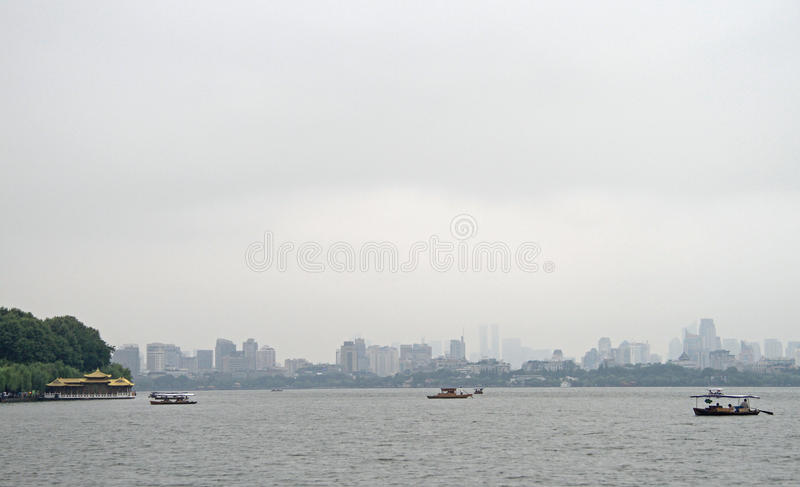 Boats on West lake in Hangzhou stock image