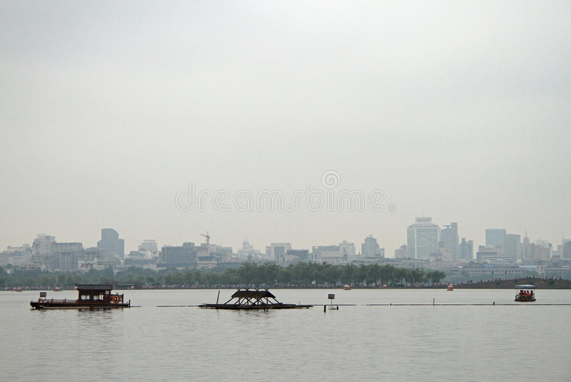Boats on West lake in Hangzhou royalty free stock photo