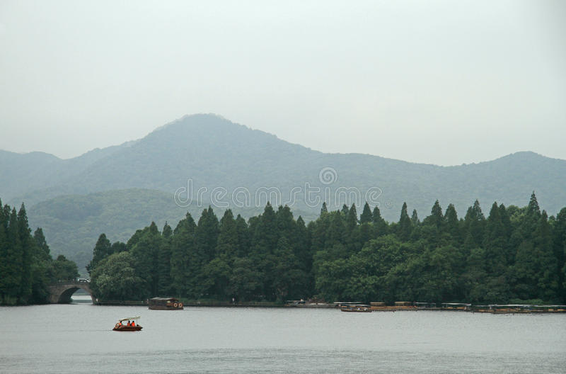 Boats on West lake in Hangzhou royalty free stock images