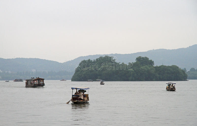 Boats on West lake in Hangzhou royalty free stock image
