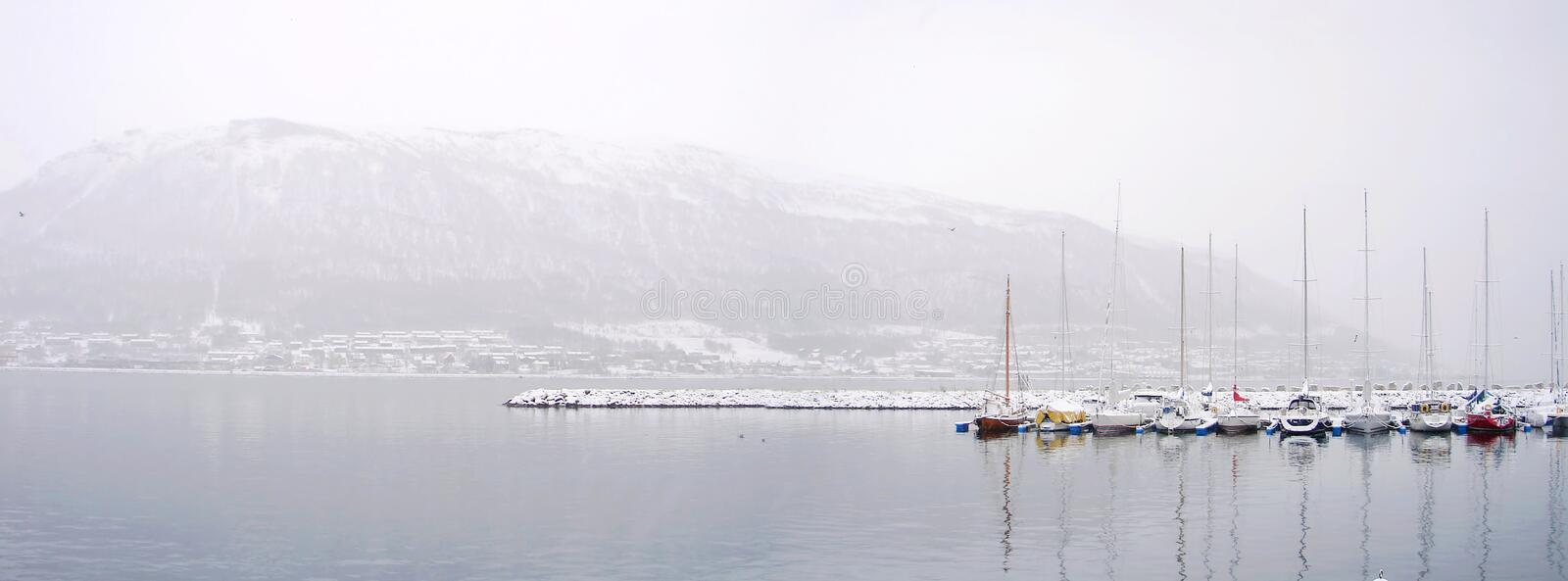 Download Boats In A Winter Panorama On Harbour Stock Photo - Image: 26290926