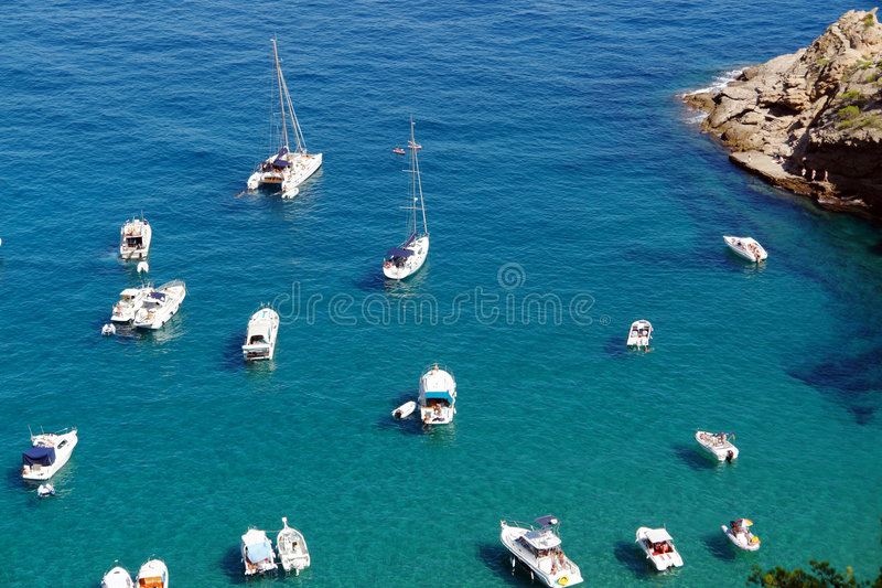 Boats and yachts in a bay. royalty free stock photos